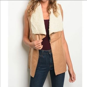 NWT Camel Sleeveless Faux Fur Sherling Lined Vest
